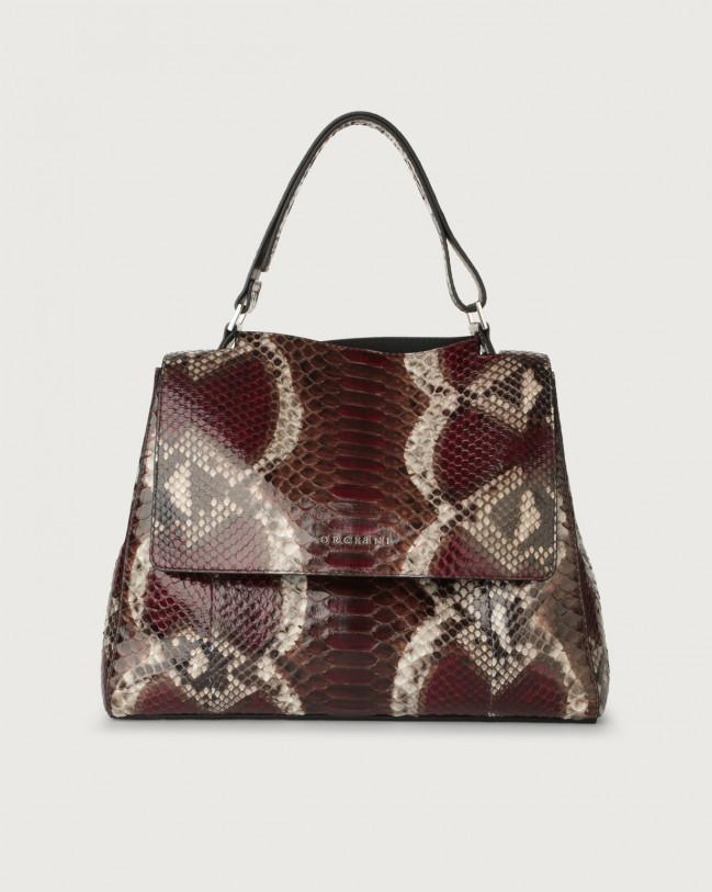 Orciani Sveva Naponos medium python leather shoulder bag with strap Python Leather Bordeaux