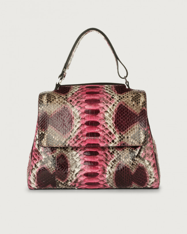 Orciani Sveva Naponos medium python leather shoulder bag with strap Python Leather Pink