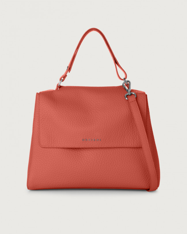 Orciani Sveva Soft medium leather shoulder bag with strap Leather Brick