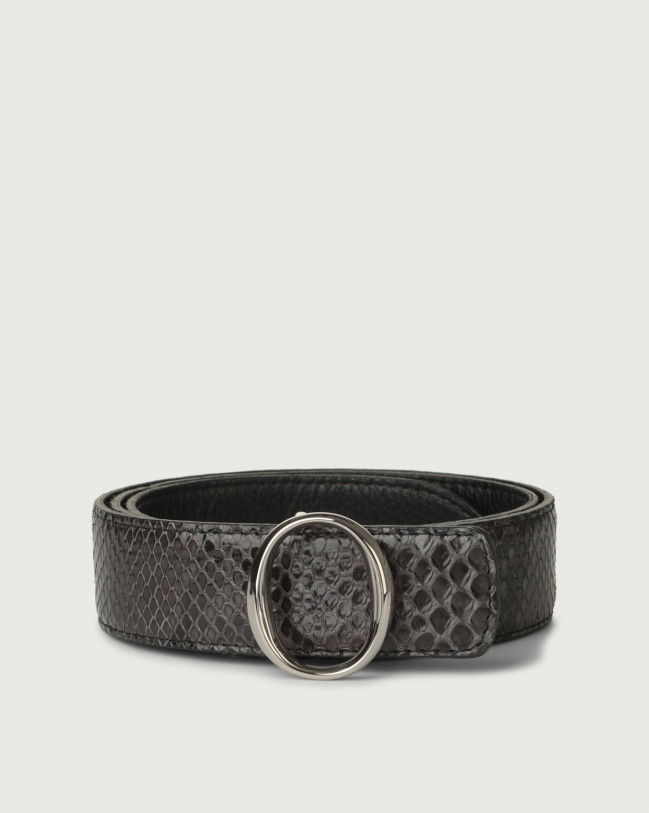 Orciani Diamond python leather belt with monogram buckle Python Leather Dark grey