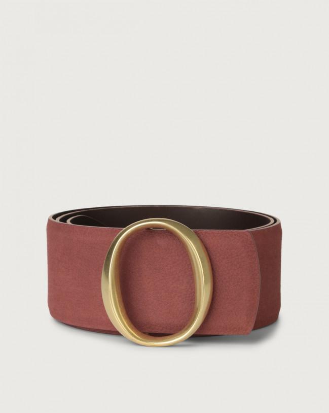 Orciani Alicante high-waist nabuck leather belt with monogram buckle Nabuck Terracotta