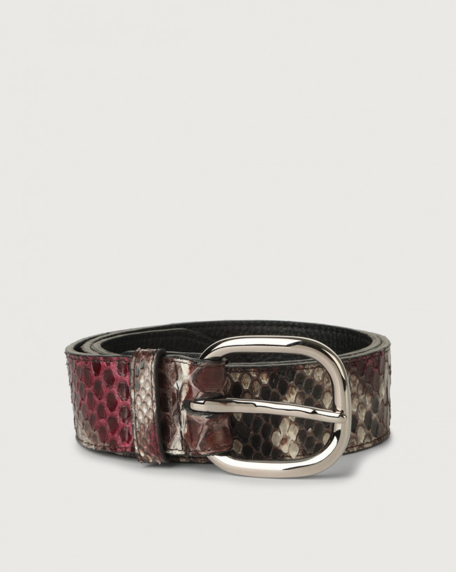 Orciani Naponos python leather belt with metal eyelets Python Leather Bordeaux