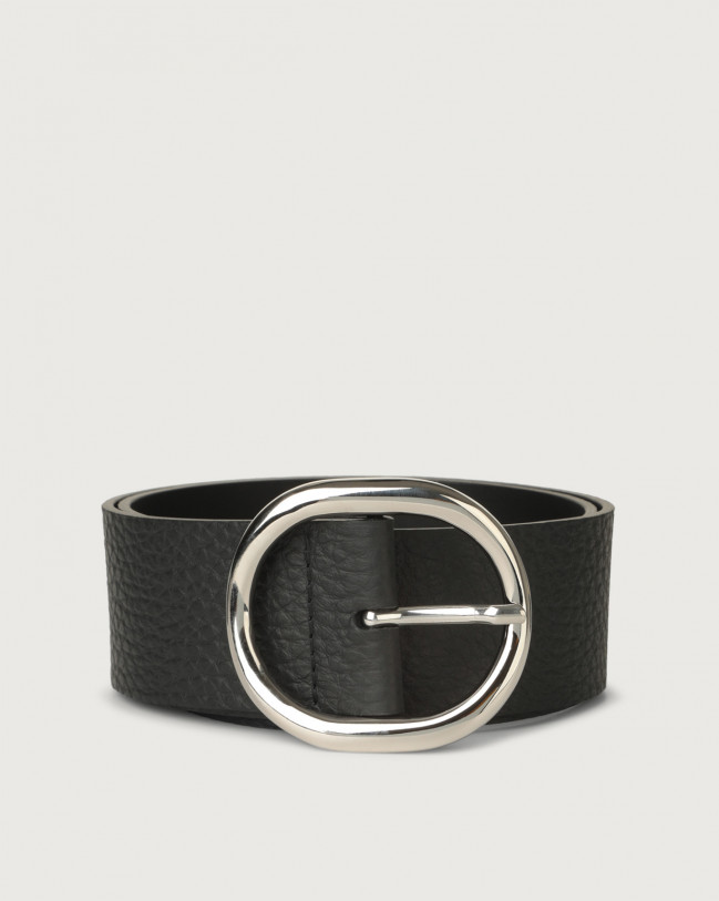 Orciani Soft high-waist leather belt 5 cm Leather Black