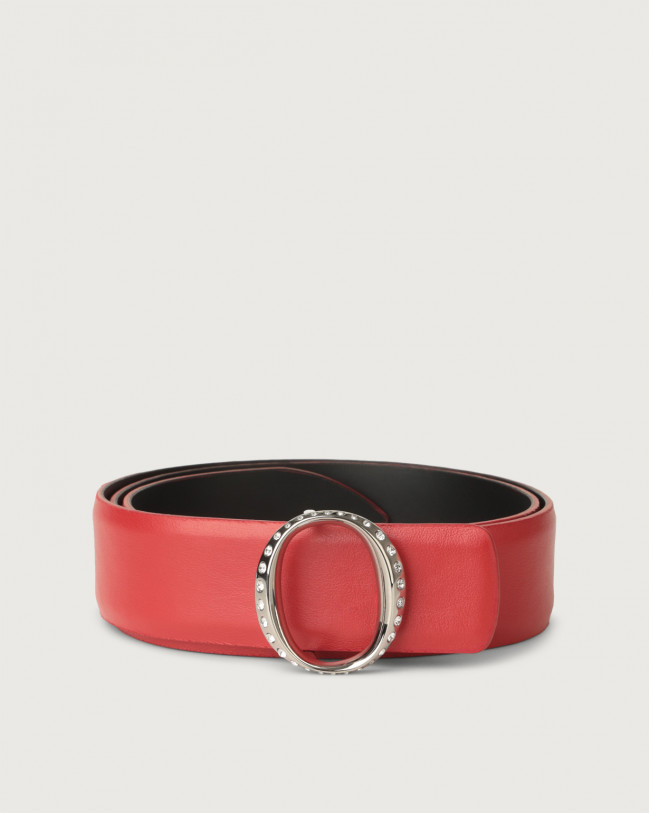 Orciani Liberty leather belt with jewel monogram buckle Leather Red