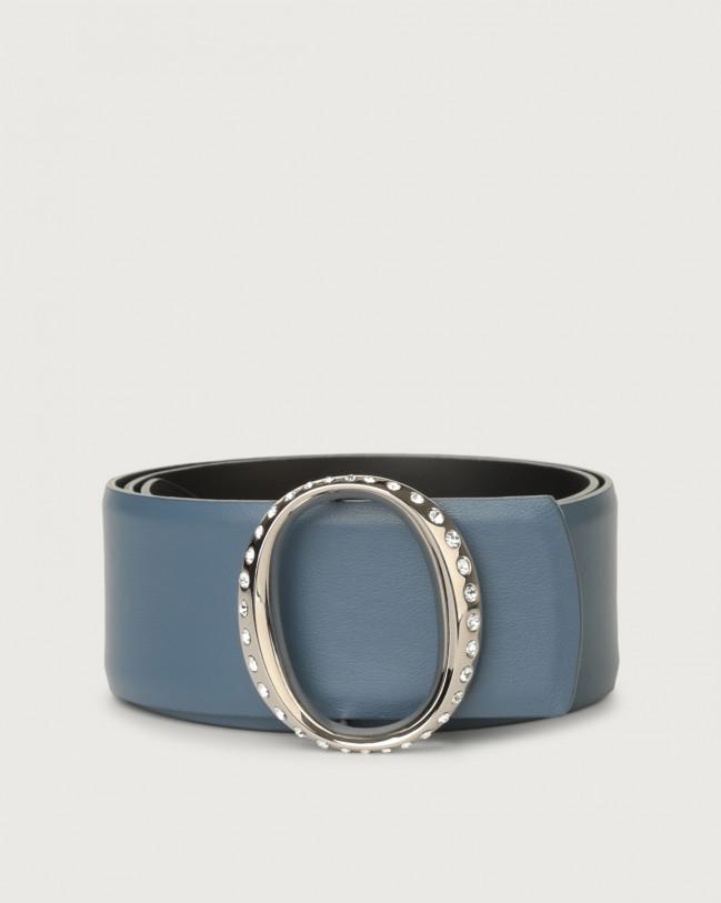Orciani Liberty high-waist leather belt with jewel monogram buckle Denim
