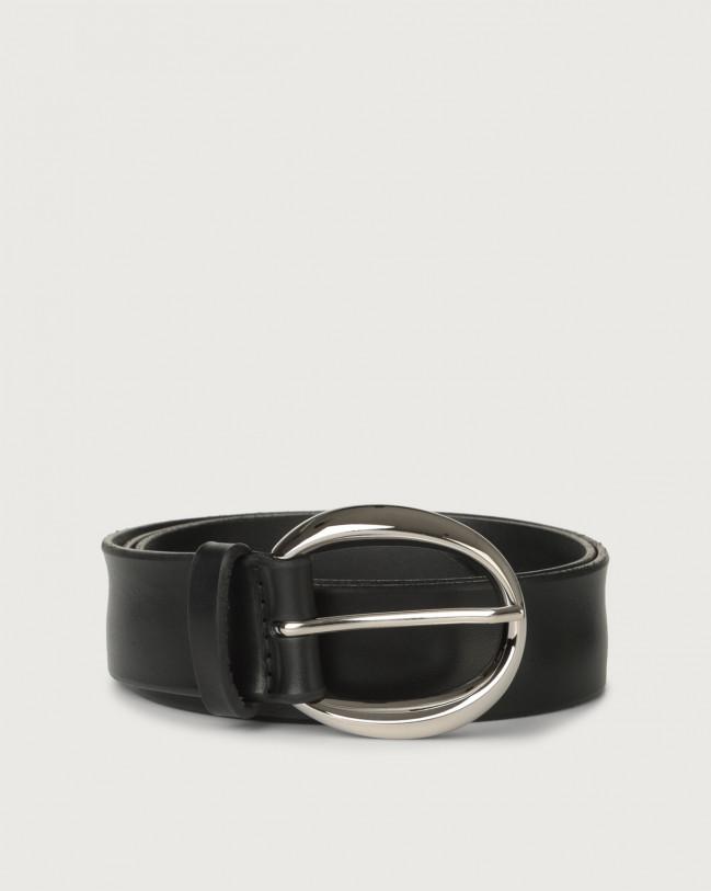 Orciani Bull Soft leather belt 3,5 cm Leather Black