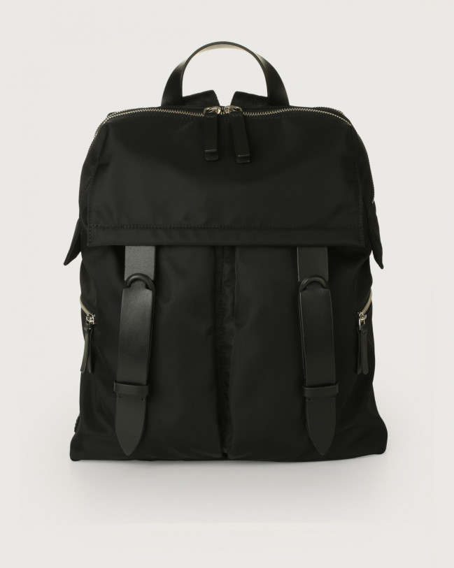 Orciani Nobuckle Eco-logic Planet backpack Canvas, Leather Black