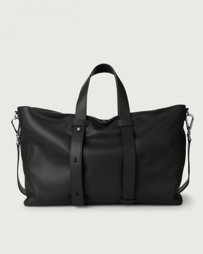 Orciani Micron leather weekender bag Leather Black
