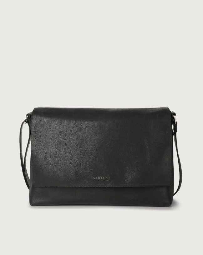 Orciani Chevrette leather messenger bag Leather Black