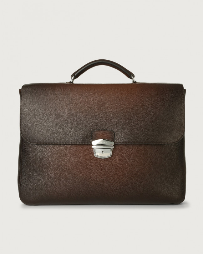 Orciani Micron Deep large leather work bag Leather Brown