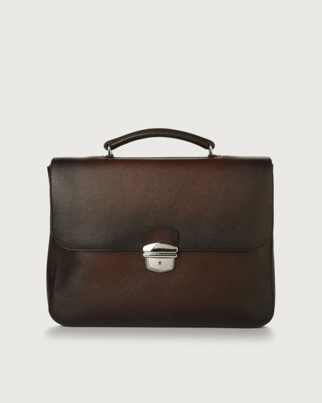 Orciani Micron Deep leather work bag Leather Brown