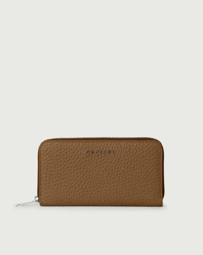 Orciani Soft large leather wallet with zip and RFID Leather Caramel