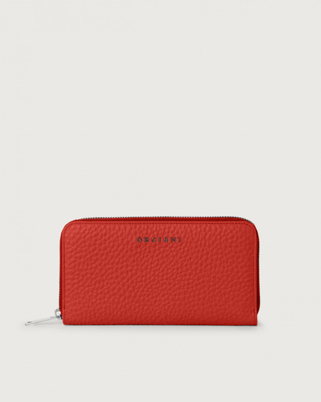 Orciani Soft large leather wallet with zip and RFID Leather Marlboro red