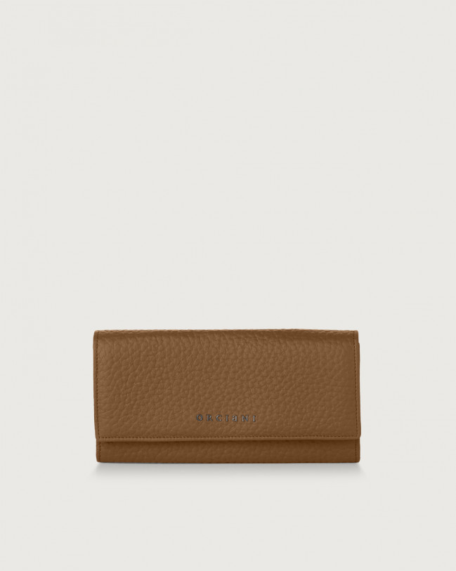Orciani Soft leather envelope wallet with RFID Leather Caramel