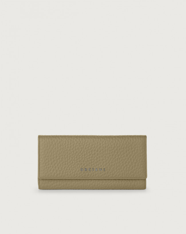 Orciani Soft leather envelope wallet with RFID Leather Kaki