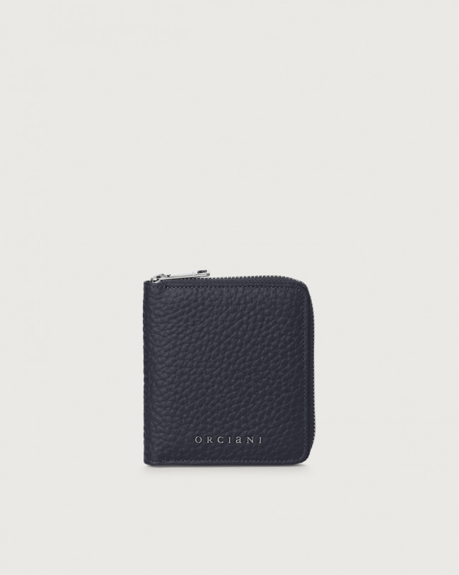 Orciani Soft small leather wallet with zip with RFID Leather Navy