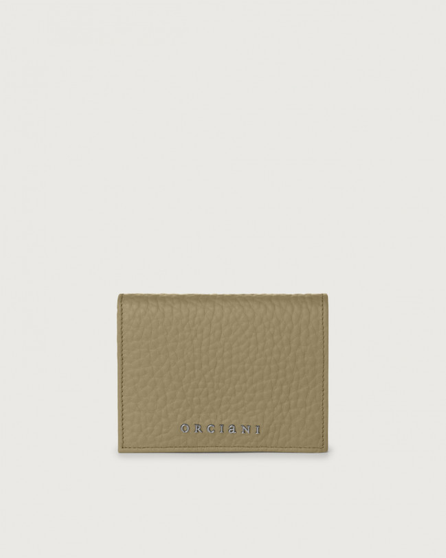 Orciani Soft small leather wallet with RFID Leather Kaki
