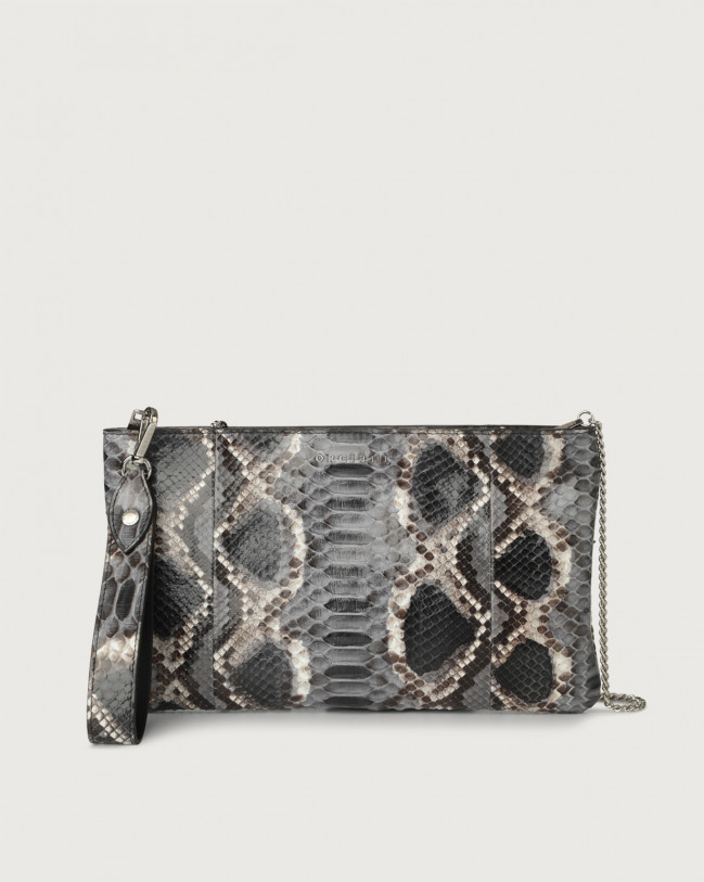 Orciani Naponos python leather pouch with wristband Python Leather Grey