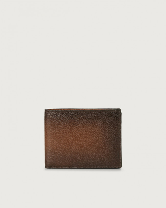 Orciani Micron Deep leather wallet with RFID Leather Brown
