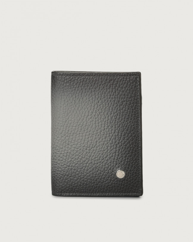 Orciani Micron Deep leather vertical wallet with RFID Leather Grey