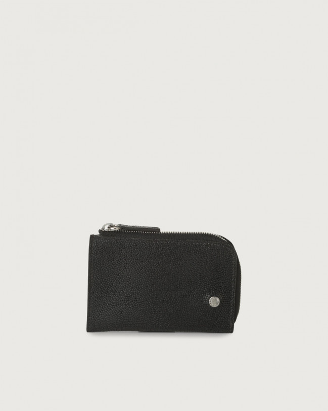 Orciani Frog leather coin purse Embossed leather, Leather Black