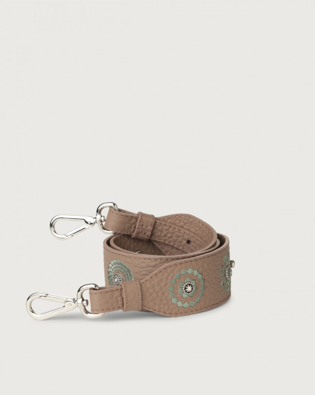 Orciani Soft embroidered leather strap Leather Taupe