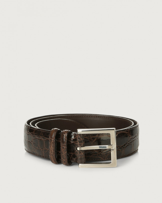 Orciani Cocco Fianco Lucido classic crocodile leather belt Crocodile Leather Chocolate