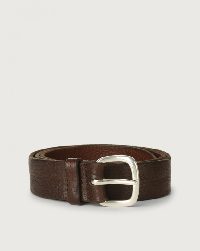 Orciani Grit embossed leather belt Embossed leather Brown