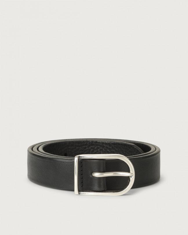 Orciani Saffiano Deep classic leather belt 3 cm Leather Black