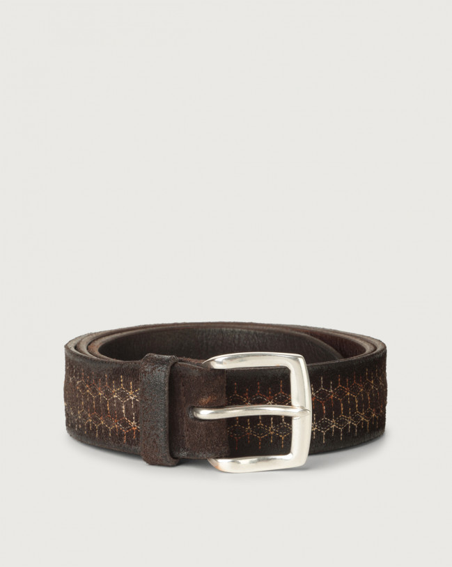 Orciani Cloudy Snake suede belt Suede Chocolate