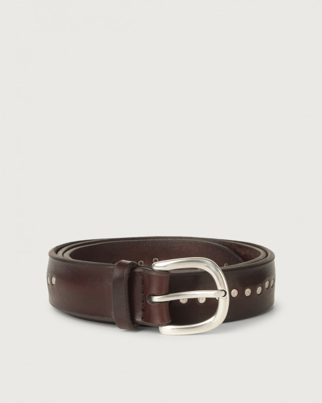 Orciani Bull Soft leather belt with micro-studs Leather Chocolate
