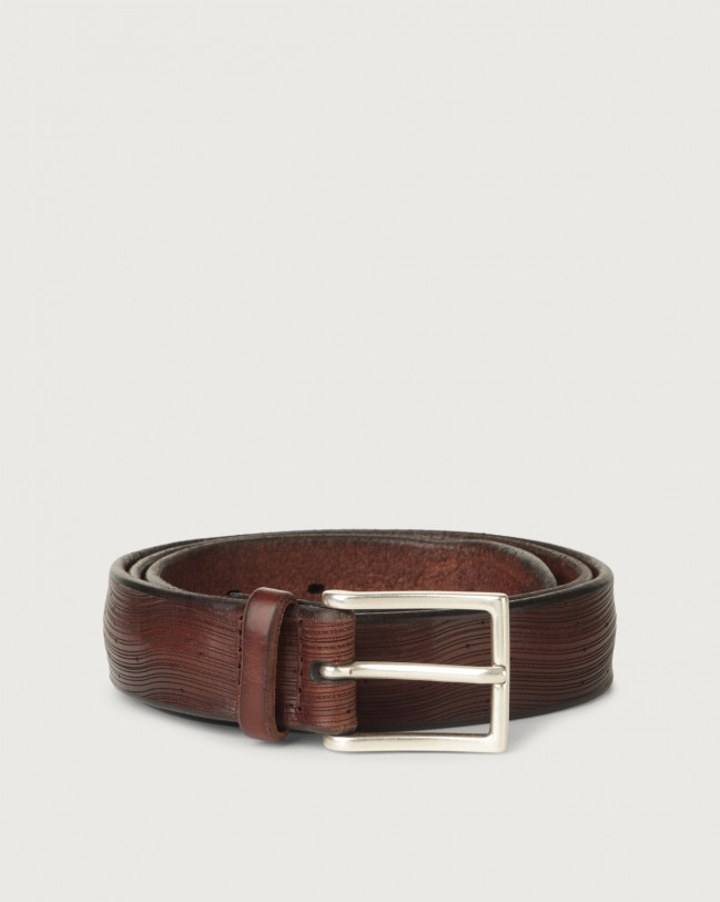 Orciani Bull Soft wave pattern leather belt Leather Brown