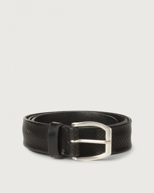 Orciani Bull Soft leather belt 3,5 cm Leather Black