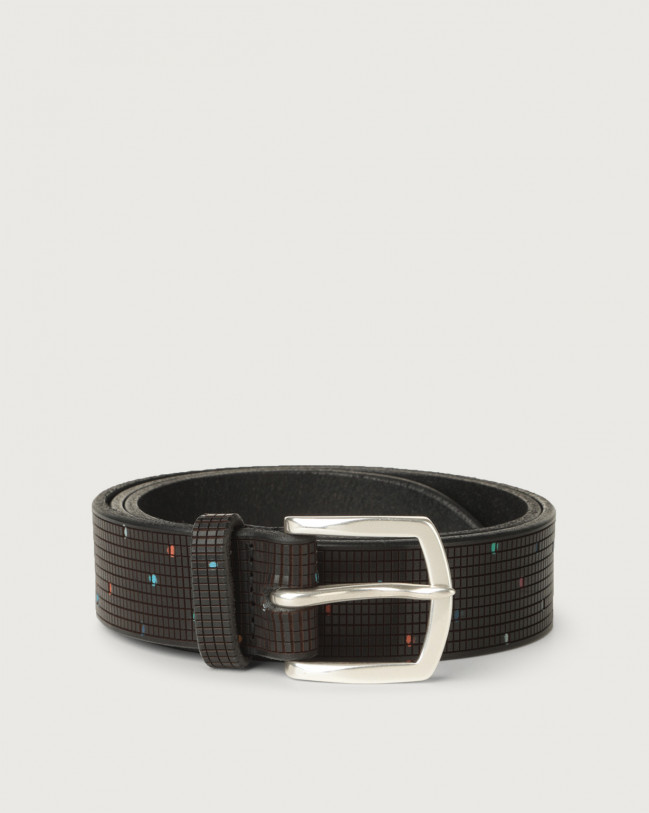 Orciani Tetris leather belt Leather Black