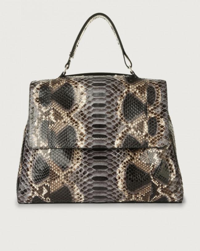 Orciani Sveva Naponos large python leather shoulder bag with shoulder strap Python Leather Grey