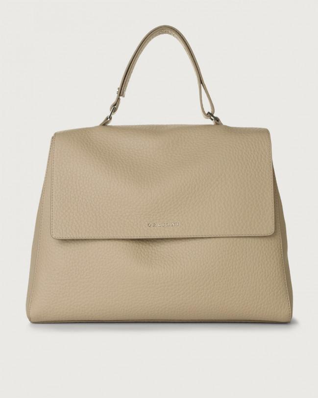 Orciani Sveva Soft large leather shoulder bag with strap Leather Sand