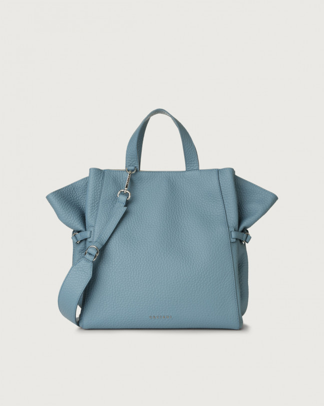 Orciani Fan Soft large leather handbag Leather Light blue