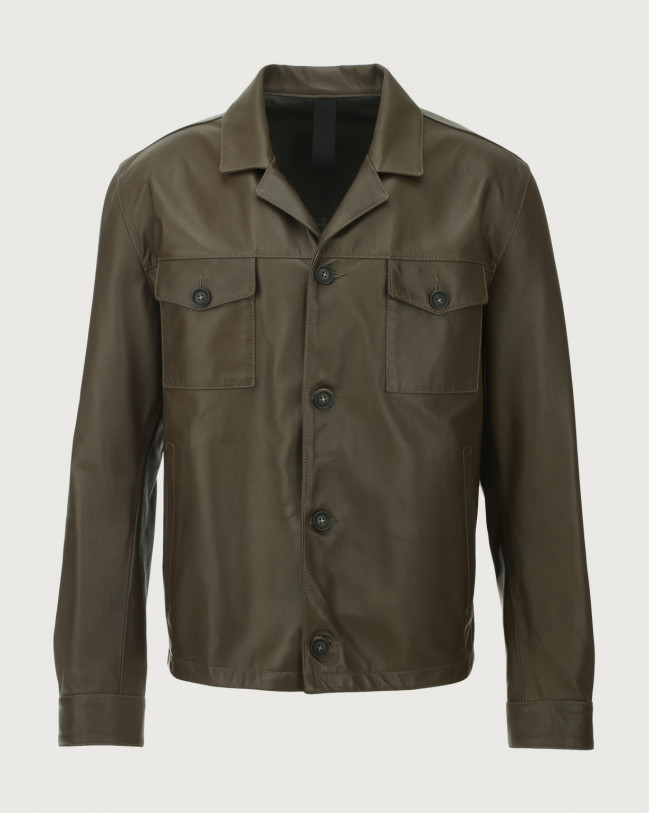 Orciani Nappa Nature leather jacket Military green