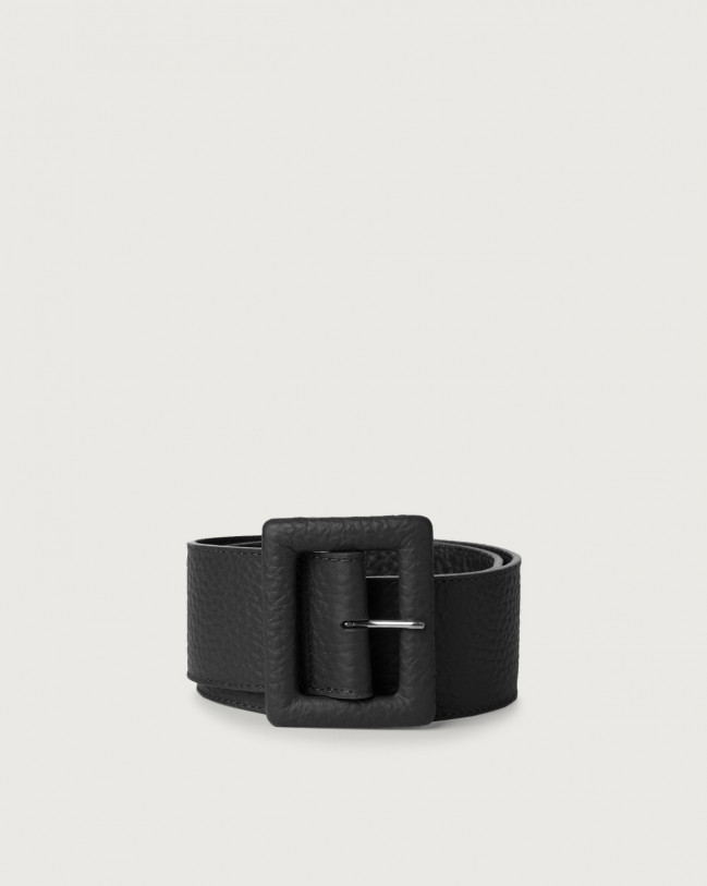 Orciani Soft high waist leather belt with covered buckle Leather Black