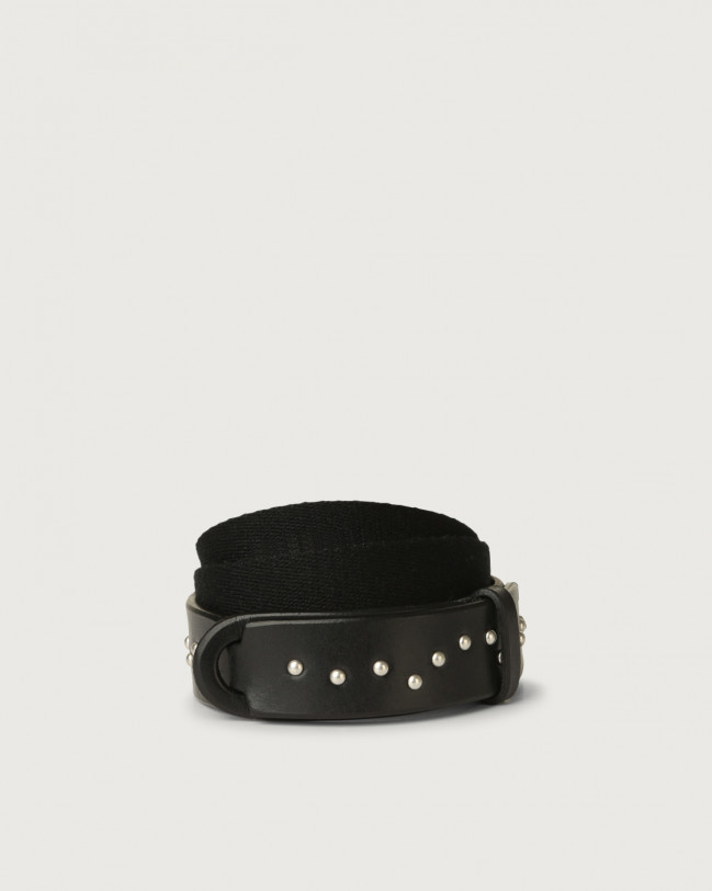 Orciani Point Metal leather and fabric Nobuckle Kids belt Leather & fabric Black