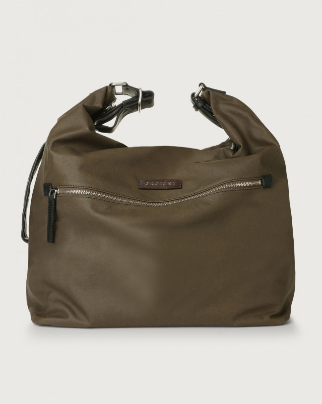 Orciani Leisure large fabric and leather crossbody bag Leather & fabric Chocolate