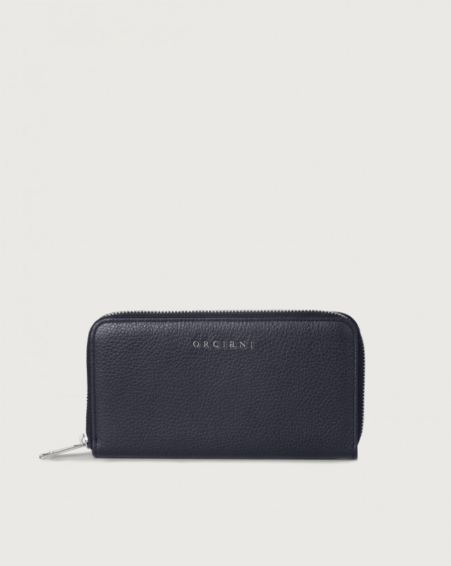 Orciani Micron large leather wallet with zip and RFID Leather Navy