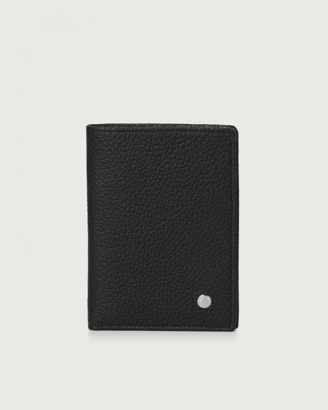 Orciani Micron leather vertical wallet Navy