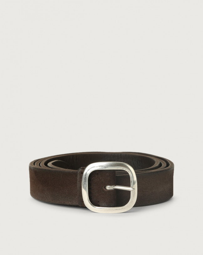 Orciani Hunting Double suede belt Leather, Suede Chocolate