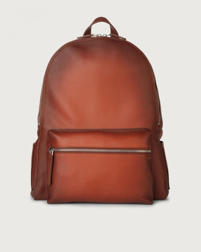 Orciani Micron Deep leather backpack Leather Cognac