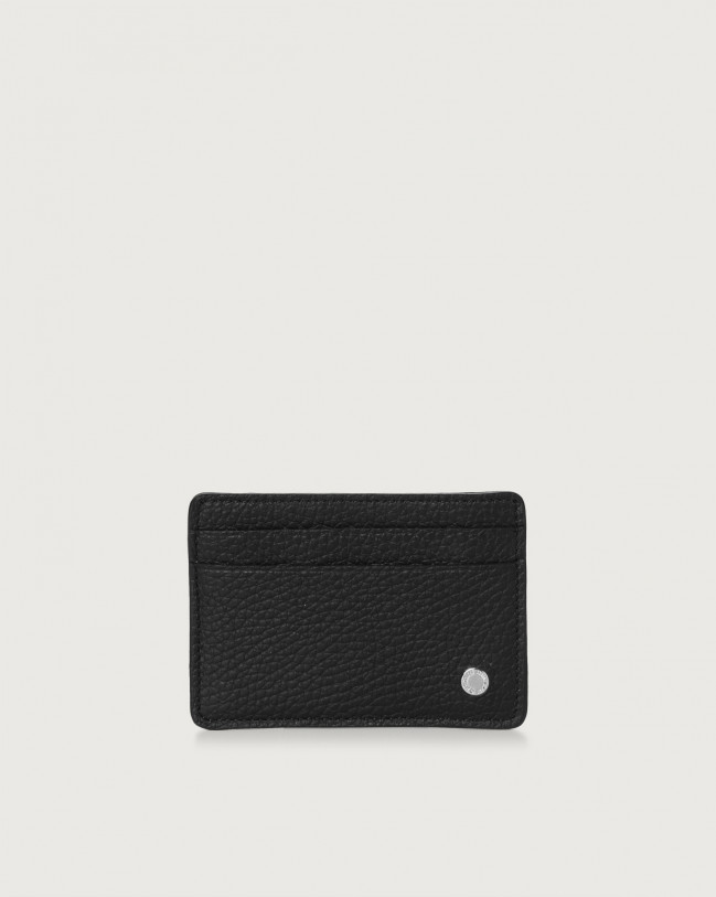 Orciani Micron leather card holder with RFID Black