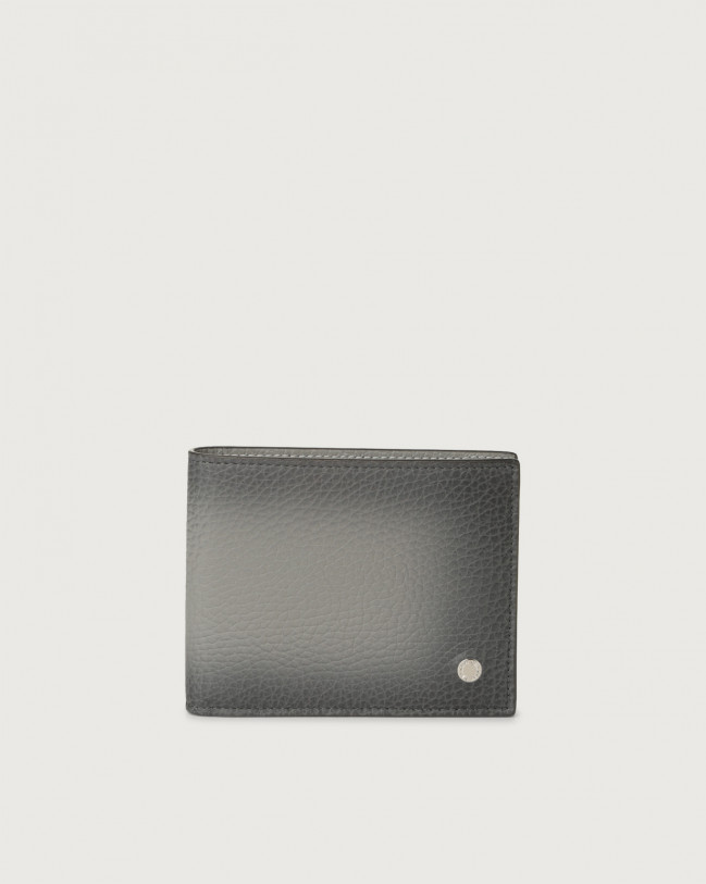 Orciani Micron Deep leather wallet with RFID Leather Grey