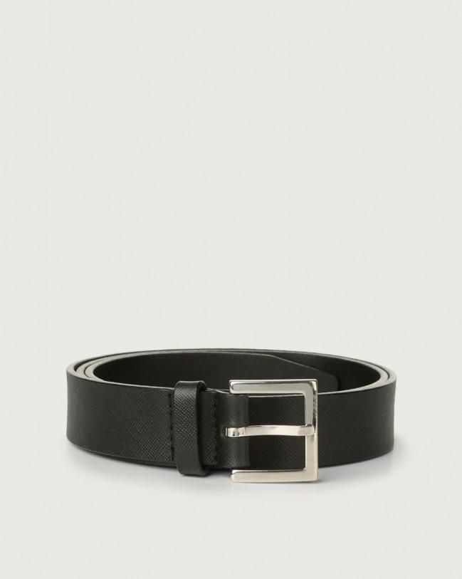 Orciani Basic Saffiano classic leather belt Leather Black