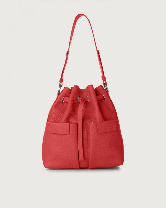 Orciani Tessa Soft medium leather bucket bag Leather Marlboro red