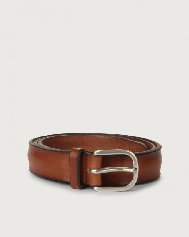 Orciani Bull Soft leather belt 3 cm Leather Cognac